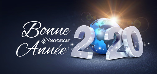 New Year 2020 Greeting card in French