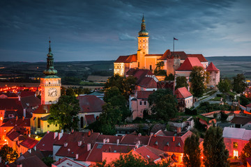 Mikulov Castle, South Moravia, Czech Republic as Seen from Goat Tower (Kozi Hradek) at Night
