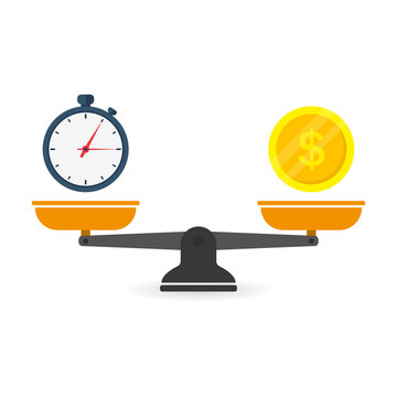 Time is money on scales icon. Money and time balance on scale. Weights with clock and money coin. Vector illustration in flat style