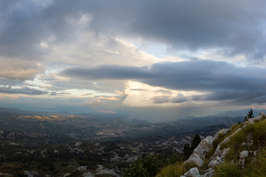Mountain view to Cetinje city in Lovcen national park at sunset, Montenegro