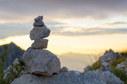 Stone pyramid in Lovcen national park at sunset, Montenegro. Zen concept