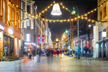 Fotomurales - View of Christmas Oslo in the night, Norway