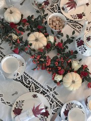 Autumn table setting for afternoon tea