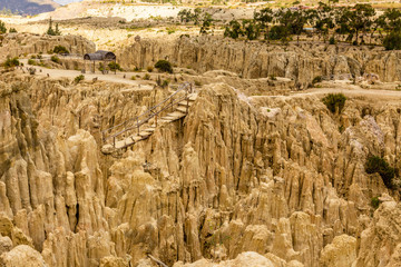 Moon Valley or Valle De La Luna canyon with eroded sandstone spikes panorama near La Paz, Bolivia