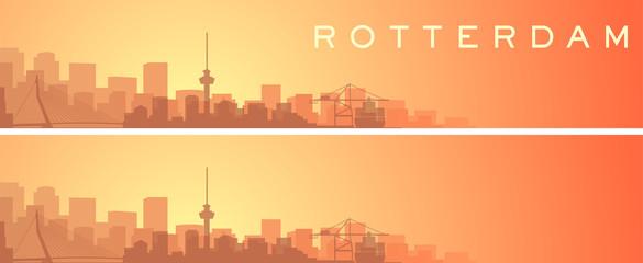 Foto auf Leinwand Rotterdam Rotterdam Beautiful Skyline Scenery Banner