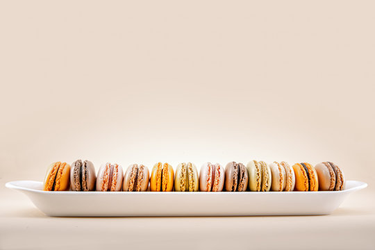 Variety of macroons in a row