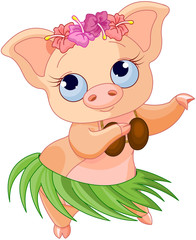 Poster Fairytale World Hula Dancing Pig