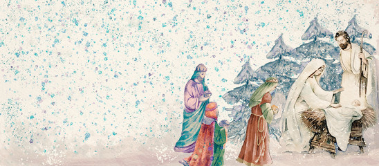 Nativity scene with three wise men .Merry Christmas watercolor background