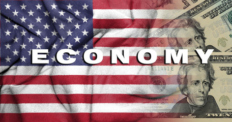 concept image united state economy. word economy on american flag background and united states currency