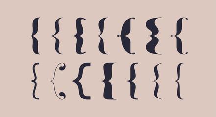 Bracket, braces, parentheses. Typography set of curly brackets