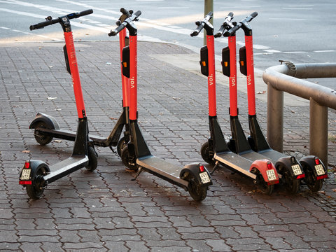 Motorized Electric Scooters By Voi In Berlin, Germany