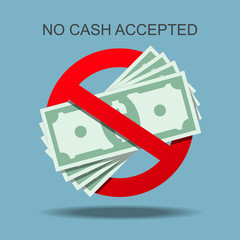No cash accepted vector illustration.