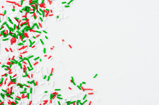 Red green and white Christmas sprinkles for baking