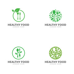 Green healthy food logo template collection, spoon, fork, green leaf, circle vector design