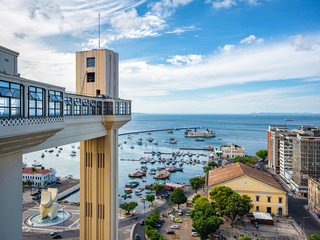 Salvador da Bahia, Brazil, View of All Saints Bay and Architectural Landmark Lacerda Lift  on a Sunny Day