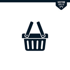 Shopping basket icon collection in glyph style
