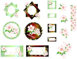 桜の花メタリック枠の素材