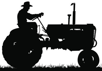 A vector silhouette of an old farmer driving an old tractor. Fotomurales
