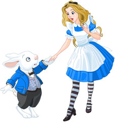 Fotorolgordijn Sprookjeswereld Alice Meets a White Rabbit