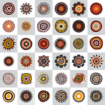 Set of aboriginal art dots painting icon design template