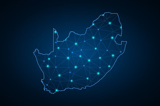 Map of South Africa. Wire frame 3D mesh polygonal network line, design sphere, dot and structure. communications map of South Africa. Vector Illustration EPS10. - Vector