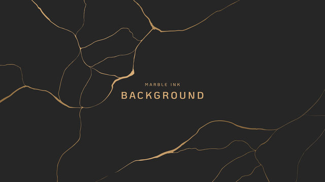 Abstract background, golden marble ink texture on dark grey