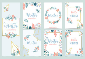Wall Mural - Collection of winter background set with bird,flower,leaves.Editable vector illustration for birthday invitation,postcard and website banner