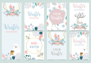 Wall Mural - Collection of winter background set with reindeer,bird,flower,leaves.Editable vector illustration for birthday invitation,postcard and website banner