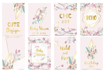 Wall Mural - Collection of boho cards set with flower,feather.Vector illustration for birthday invitation,postcard and sticker.Editable element