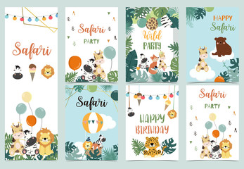 Collection of safari background set with giraffe,balloon,zebra,leopard.Vector illustration for birthday invitation,postcard and sticker.Wording include wild and free.Editable element