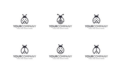 Lady bug logo design vector