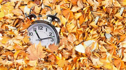 clock time fallen autumn winter leaves top view for winter sales background