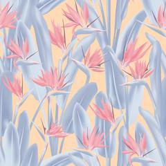 Modèle sans couture de vecteur de fleur de grue tropicale. Conception de tissu d& 39 été tropical paradis des plantes de la jungle. Fleur tropicale de plante sud-africaine de fleur de grue, strelitzia. Imprimé textile fleuri.