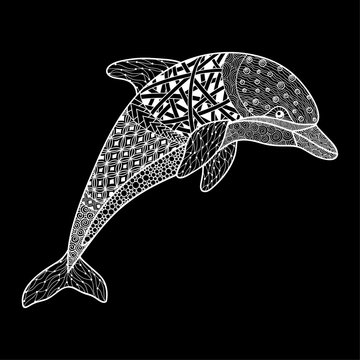 beautiful monochrome black and white dolphin with decorative flourish element. Hand Drawn vector illustration isolated on background. Vintage sketch for tattoo design or mehandi