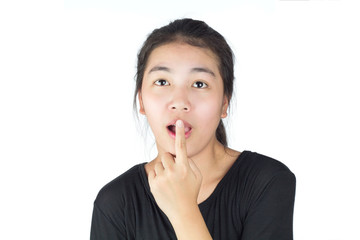 asian women look something and finger touch mouth feel surprise