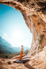 Climber prepares to climb the route.