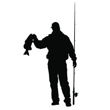A vector silhouette of a fisherman holding up a bass fish.