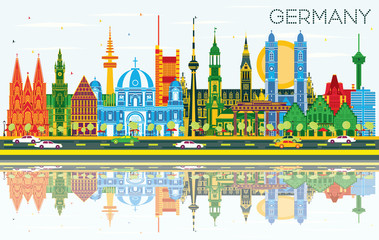 Germany City Skyline with Color Buildings, Blue Sky and Reflections.