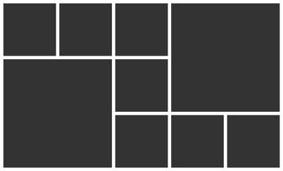 Templates collage nine frames photos parts. Vector poster frame mockup. Nine photos. Board and branding presentation template design. Fototapete