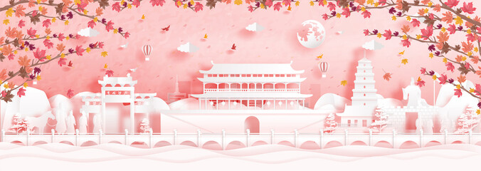 Fototapete - Autumn in Xian , China with falling maple leaves and world famous landmarks in paper cut style vector illustration