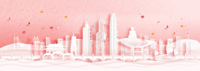 Fototapete - Autumn in Hong Kong, China with falling maple leaves and world famous landmarks in paper cut style vector illustration