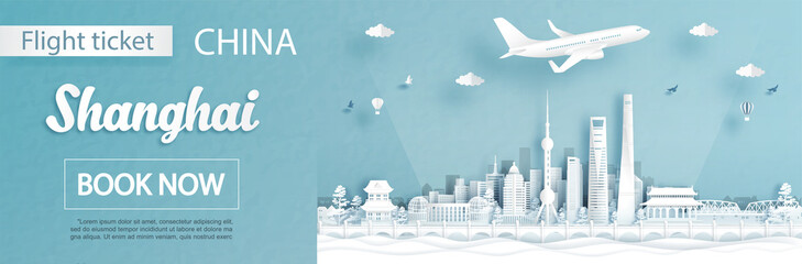 Fototapete - Flight and ticket advertising template with travel concept to Shanghai, China and famous landmarks in paper cut style vector illustration