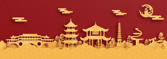 Fototapete - Panorama postcard and travel poster of world famous landmarks of Chengdu, China in paper cut style vector illustration
