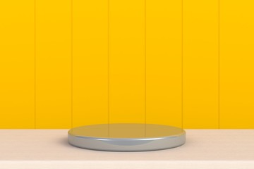 Round silver stage podium concept illustration isolated on yellow background. Festive podium scene for award ceremony on table. Silver pedestal for product presentation. 3d rendering