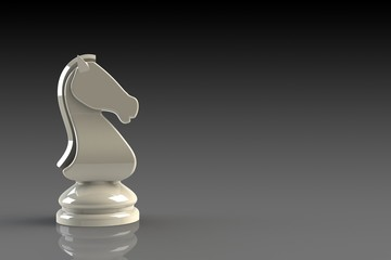White knight chess piece on gray background, Chess business concept, leader teamwork & success, 3d rendering