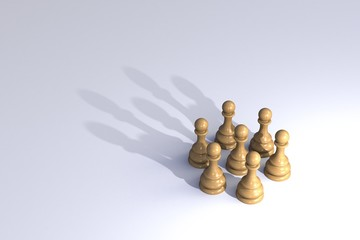 Chess pawn circle with shadow shaped as a crown on white background, Business leadership, Teamwork power and confidence concept, 3d rendering
