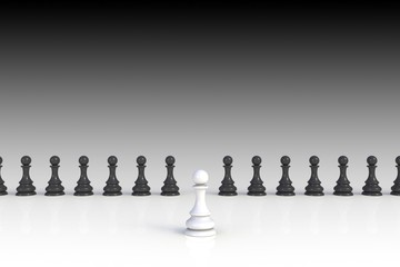 White and black chess pawn on white background, Business leadership, Teamwork power and confidence concept, 3d rendering
