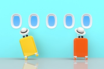 Modern yellow and orange suitcases bag with sun glasses, hat and airplane window on blue background. Travel concept. Vacation trip. Copy space. Minimal style. 3D rendering illustration