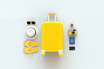 Close up modern yellow suitcases bag with traveler accessories on white background. Travel concept. Vacation trip. Copy space. Minimal style. 3D rendering illustration