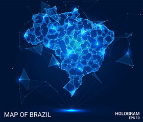 Hologram Of Brazil. Map of Brazil of polygons, triangles of points and lines. Map of Brazil low poly composite structure. Technological concept.